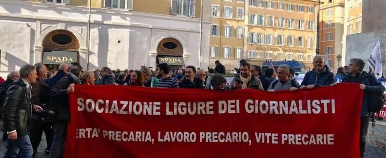Associazione Ligure dei Giornalisti a Roma contro il precariato